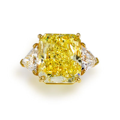 Bulgari 21 07 carat Intense Yellow Diamond Ring by Bonhams Yellow Diamonds Sold, Found and Broke Records